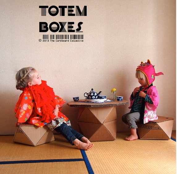 DIY Totem Box Furniture From Cardboard Collective