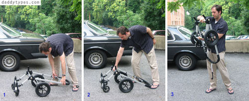how to fold a bugaboo in three easy steps, image:daddytypes.com