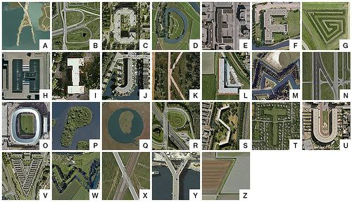 ... plus numbers and punctuation, using only Dutch sites on Google Earth.