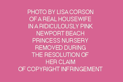 Placeholder image of a Lisa Corson photo of a mom who got a blowout and put on a cocktail dress to appear in Corson's photoshoot about princess fantasy nurseries, in a Newport Beach princess fantasy nursery, said placeholder which will remain until Corson's copyright claims over fair use of this image are resolved.